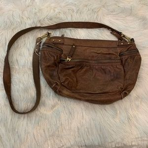 Fossil  Brown Distressed Leather Crossbody